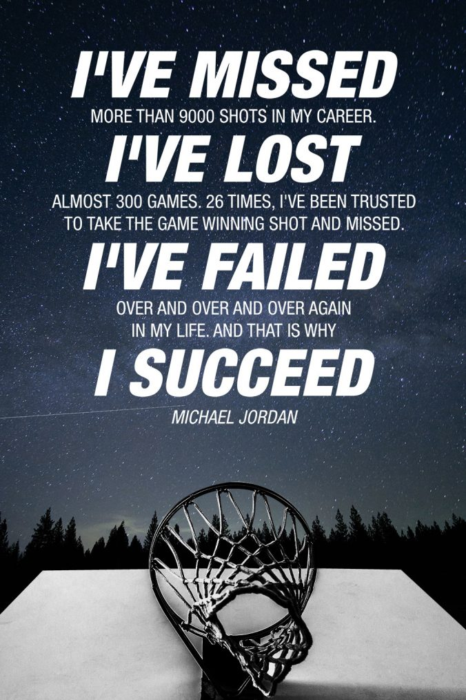 """I've failed over and over and over again in my life. And that is why I succeed."" - Michael Jordan Quote Art"